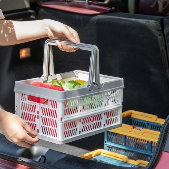 手提摺疊收納籃 方便攜帶摺疊置物籃 零食水果收納籃 手提菜籃