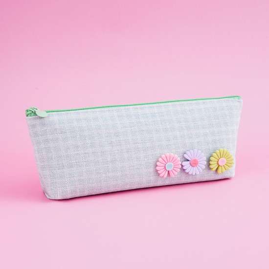 小雛菊帆布筆袋 簡約大容量帆布文具袋 多功能小清新文具收納袋 鉛筆盒