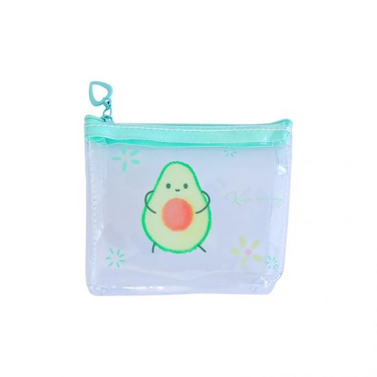 可愛酪梨收納包 創意透明印花拉鍊袋 可愛圖案耳機收納包 零錢包